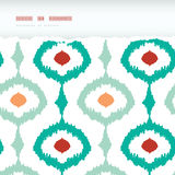 Colorful chain ikat frame horizontal torn seamless Royalty Free Stock Photos