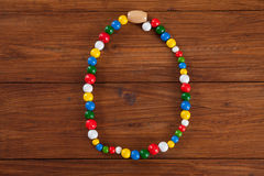 Colorful chain on wood, copy space Royalty Free Stock Photo