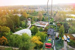 Colorful chair lifts, funicular, in Prague ZOO. Czech republic, Lift station and cable car. Travel destination. Tourism theme. Colorful chair lifts, funicular royalty free stock photos