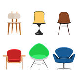 Colorful chair set. Modern Collection of chairs and armchairs  on white background. Flat Icon Designer interior furniture. Vector illustration flat style sign Stock Photos