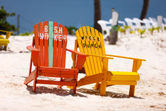 Colorful chairs at Caribbean Royalty Free Stock Image