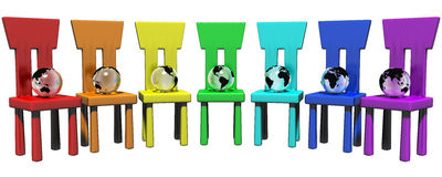 Colorful chairs & globes Stock Images