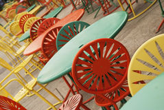 Colorful Chairs. On the memorial union at University of Wisconsin Stock Image