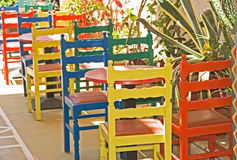 Colorful chairs outside a restaurant. Stock Photography