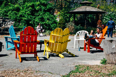 Colorful chairs at a park in Manhattan. Royalty Free Stock Photography