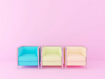 Colorful chairs in the pink room Royalty Free Stock Photos
