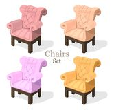 Colorful Chairs set Vector. Modern upholstery collection designs. Colorful Chairs set Vector. Modern upholstery collection design Royalty Free Stock Photos