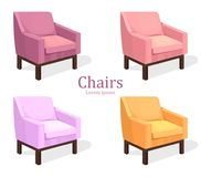 Colorful Chairs set Vector. Modern upholstery collection designs. Colorful Chairs set Vector. Modern upholstery collection design Stock Photography