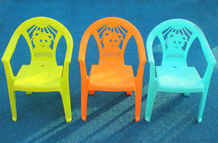 Colorful chairs. Some colorful chairs green orange blue Royalty Free Stock Image