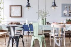 Colorful chairs at table in eclectic grey dining room interior with lamps and flowers. Real photo. Concept stock photo
