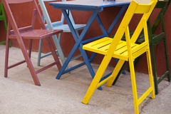Colorful chairs and table Stock Image