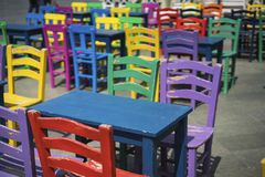 Colorful chairs and tables royalty free stock photos
