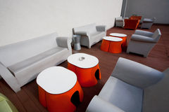 Colorful chairs and tables in the space Royalty Free Stock Photography