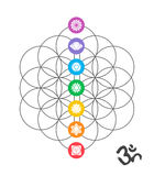 Colorful chakra icons on Sacred geometry design Stock Photo