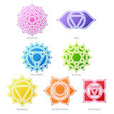 Colorful chakras symbols icons set. Royalty Free Stock Photography