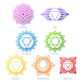 Colorful chakras symbols icons set. Royalty Free Stock Image