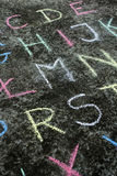 Colorful chalk on the asphalt, Royalty Free Stock Photography