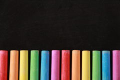 Colorful Chalk and Blackboard Royalty Free Stock Photos
