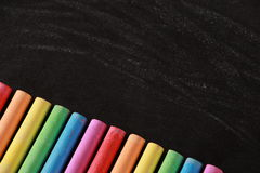 Colorful Chalk and Blackboard Stock Photo