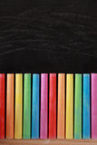 Colorful Chalk and Blackboard Stock Photography