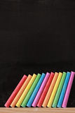 Colorful Chalk and Blackboard Royalty Free Stock Photography