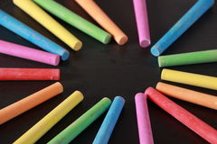 Colorful Chalk and Blackboard Royalty Free Stock Image