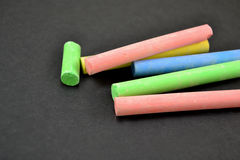 Colorful chalk on blackboard Royalty Free Stock Photography