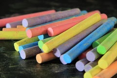 Colorful chalk. On blackboard,pastel Royalty Free Stock Photo