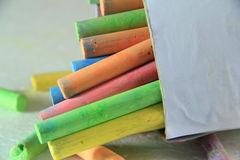 Colorful chalk. In a box royalty free stock photo