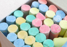 Colorful chalk in box Royalty Free Stock Images