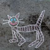 Chalk drawing on asphalt: funny cat Royalty Free Stock Photos