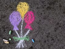 Chalk drawing: party ballons Stock Photo