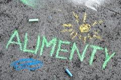 Chalk drawing: Polish word ALIMONY and yellow sun royalty free stock photos