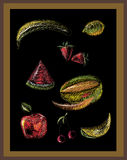 Colorful chalk drawing of fruits on blackboard Royalty Free Stock Photos