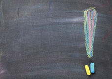Colorful chalk exclamation mark on blackboard background Royalty Free Stock Image