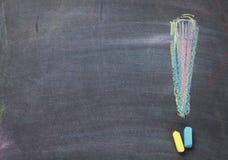 Colorful chalk exclamation mark on blackboard background Royalty Free Stock Image