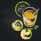 Colorful chalk painted illustration of full glass with apple juice. Royalty Free Stock Image