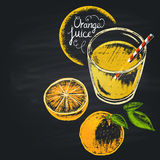 Colorful chalk painted illustration of full glass with orange juice. Royalty Free Stock Photos