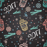 Colorful chalk painted seamless pattern with snowflakes, mittens, 2017 Royalty Free Stock Photography