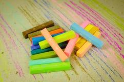 Colorful chalk pastels - arts, education Stock Photos