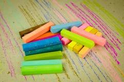 Colorful chalk pastels - arts, education Stock Image