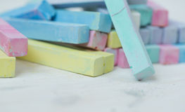 Colorful chalk pastels - education, arts,creative Royalty Free Stock Image