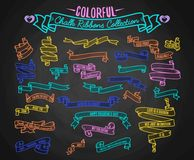 Colorful chalk ribbons collection, hand draw on black board vector illustration. Set of ribbons for Valentines Day with. Love quotes. Chalk on a black Stock Image