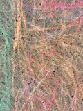 Colorful Chalk Scribbled on a Sidewalk, Texture Background stock photos