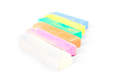 Colorful chalk on a white background. Stock Photo