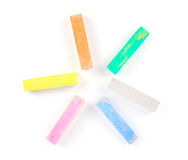 Colorful chalk on a white background. Royalty Free Stock Image