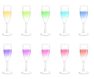 Colorful champagne glasses Stock Image