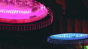 Colorful chandelier with crystal in the night club stock video