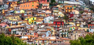 Colorful chaotic houses on a mountain in Rocca di Papa, Italy royalty free stock photos