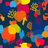 Abstract artsy background. Colorful chaotic spots, dots and lines. Trendy design for textile, cards and packaging stock illustration